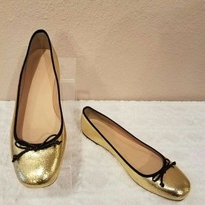 J Crew Lily Ballet Flats in Gold Crackled Leather